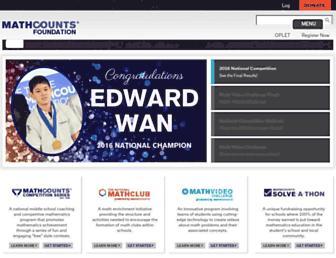 Main page screenshot of mathcounts.org