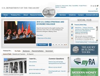 Main page screenshot of treasury.gov