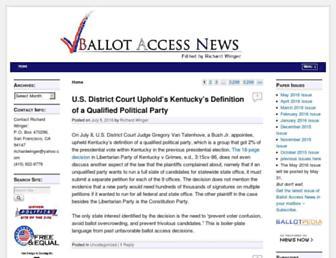 Main page screenshot of ballot-access.org