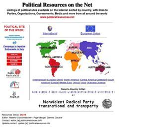 Main page screenshot of politicalresources.net