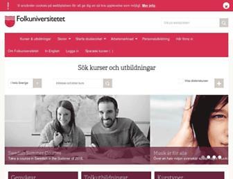 Main page screenshot of folkuniversitetet.se