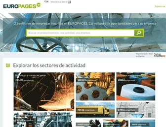 Main page screenshot of europages.es