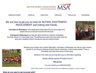 Main page screenshot of volunteersinmotorsport.co.uk