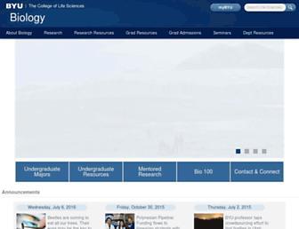 Main page screenshot of biology.byu.edu