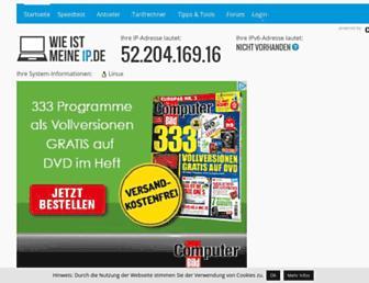 Main page screenshot of wieistmeineip.de
