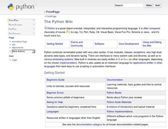 Main page screenshot of wiki.python.org