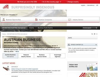 Main page screenshot of advantageaustria.org