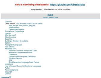 cloc.sourceforge.net screenshot