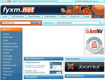 Main page screenshot of fyxm.net