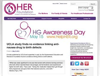 Main page screenshot of helpher.org
