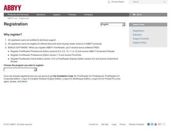 registration.abbyy.com screenshot