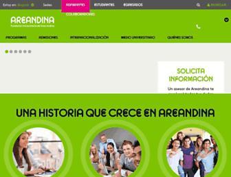 Main page screenshot of areandina.edu.co