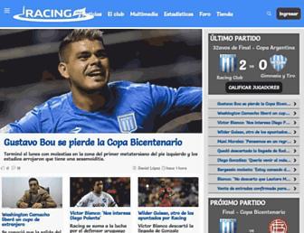 Main page screenshot of racing.com.ar