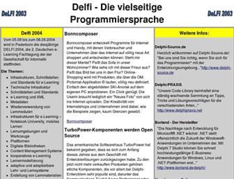 Main page screenshot of delfi2003.de