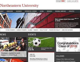 Main page screenshot of northeastern.edu