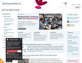 Main page screenshot of beroepsziekten.nl