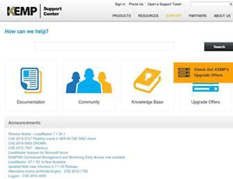support.kemptechnologies.com screenshot