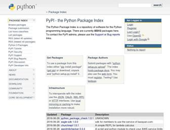 Main page screenshot of pypi.python.org