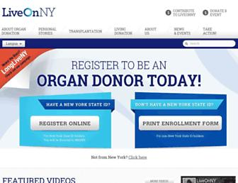 Main page screenshot of donatelifeny.org