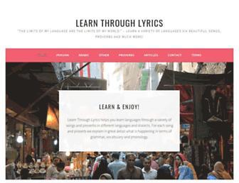 learnthroughlyrics.com screenshot
