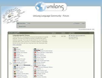 Main page screenshot of unilang.org