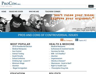 Main page screenshot of procon.org