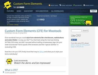 Main page screenshot of customformelements.net