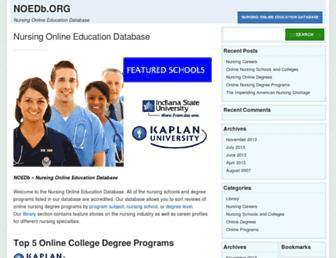 Main page screenshot of noedb.org