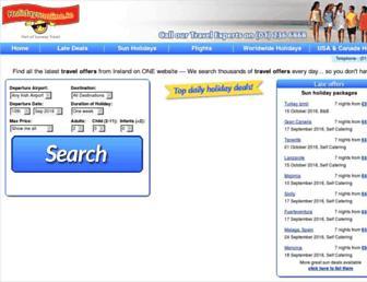 Main page screenshot of holidaysonline.ie