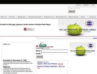 Main page screenshot of aerosocietyindia.in