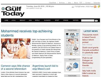 Main page screenshot of gulftoday.ae