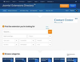 Main page screenshot of extensions.joomla.org