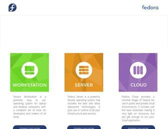 Main page screenshot of fedoraproject.org
