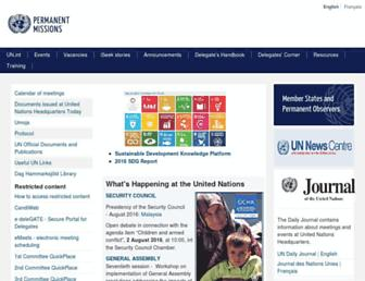Main page screenshot of un.int