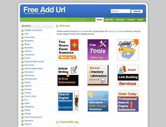 Main page screenshot of freeaddurl.org