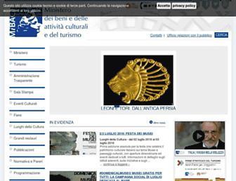 Main page screenshot of beniculturali.it