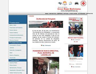 Main page screenshot of cruzrojaboliviana.org
