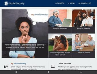Main page screenshot of ssa.gov