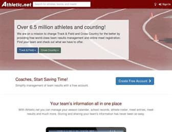 Main page screenshot of athletic.net
