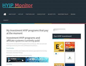 Main page screenshot of hyip-monitor.org
