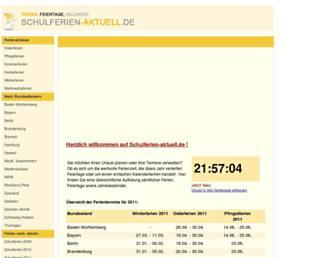 Main page screenshot of schulferien-aktuell.de