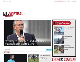 Main page screenshot of elfvoetbal.nl