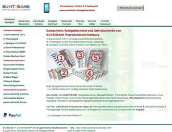 Main page screenshot of buntebank.de