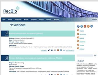 Main page screenshot of recbib.es