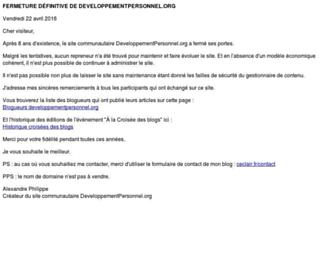 Main page screenshot of developpementpersonnel.org
