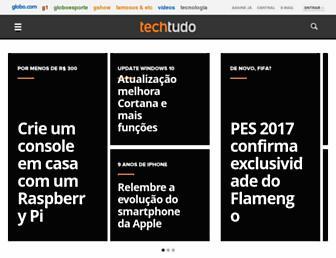 Main page screenshot of techtudo.com.br