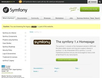 Main page screenshot of symfony-project.org