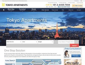 Main page screenshot of tokyoapartments.jp