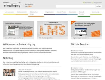 Main page screenshot of e-teaching.org