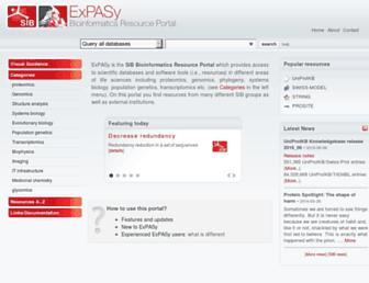 Main page screenshot of expasy.org
